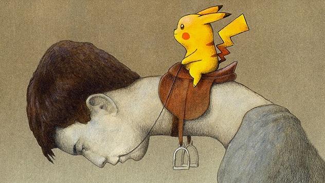 Художник показал всеобщую зависимость от Pokémon GO в иллюстрации