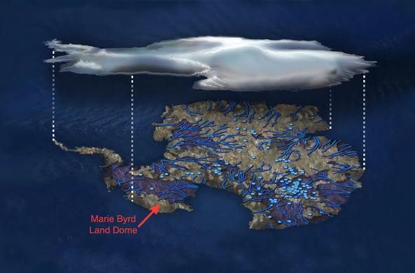 Гигантское скопление магмы нашли под Антарктикой