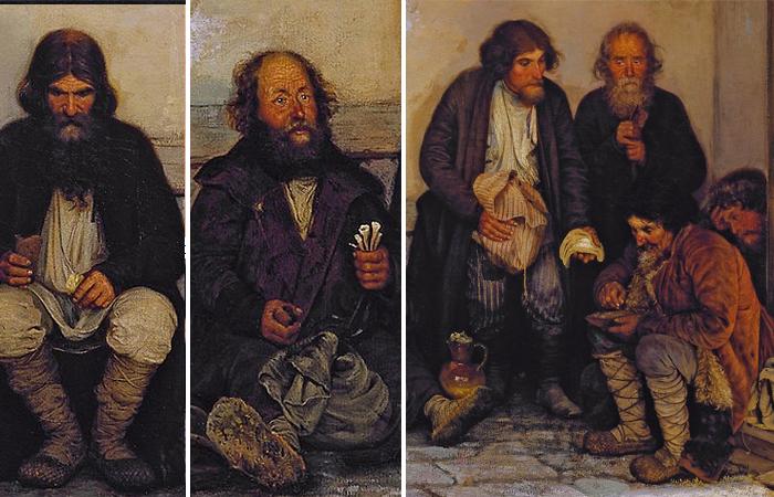 Герои картины Мясоедова: сидящий крестьянин в левой части картины / Сидящий крестьянин в центре картины / Группа сидящих и стоящих крестьян у крыльца
