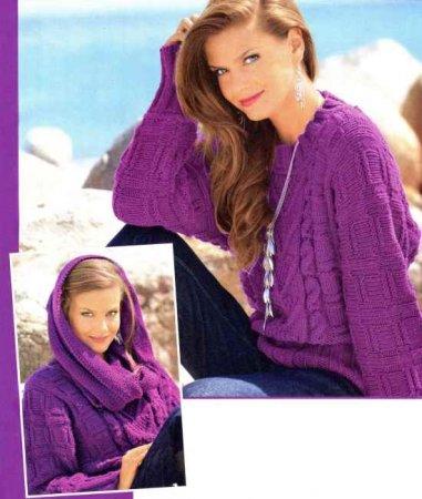 """Пуловер с рукавами """"Летучая мышь"""" и шарф-хомут"""