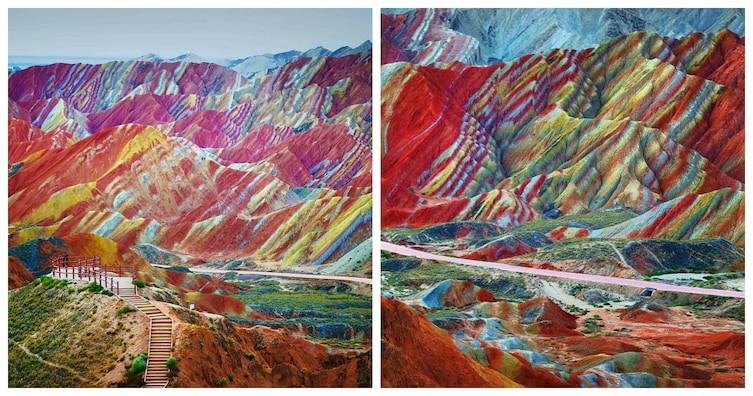 Радужные горы необычное, природа, удивительное