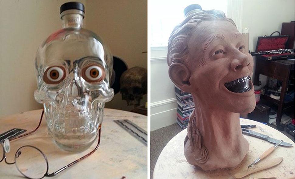 Криминалист купил водку в виде стеклянного черепа и решил восстановить ее лицо