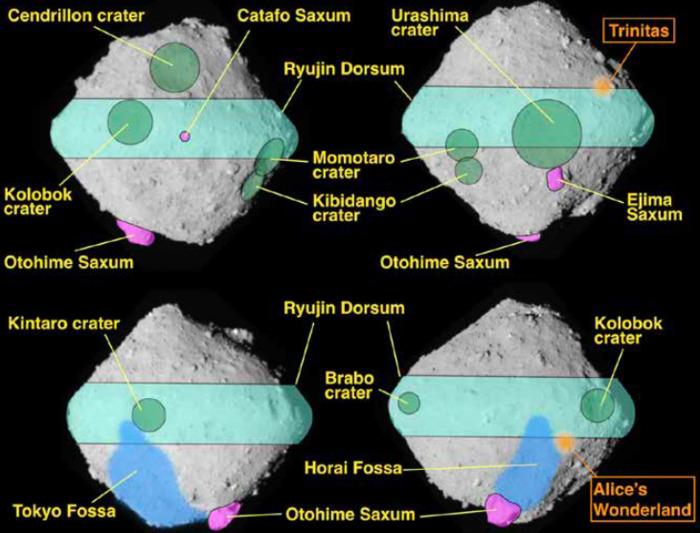 Кратеры Колобок и Золушка: МАС утвердил названия деталей рельефа астероида (162173) Рюгу