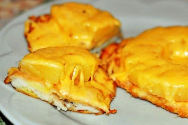 Рецепты курица с ананасом с сыром