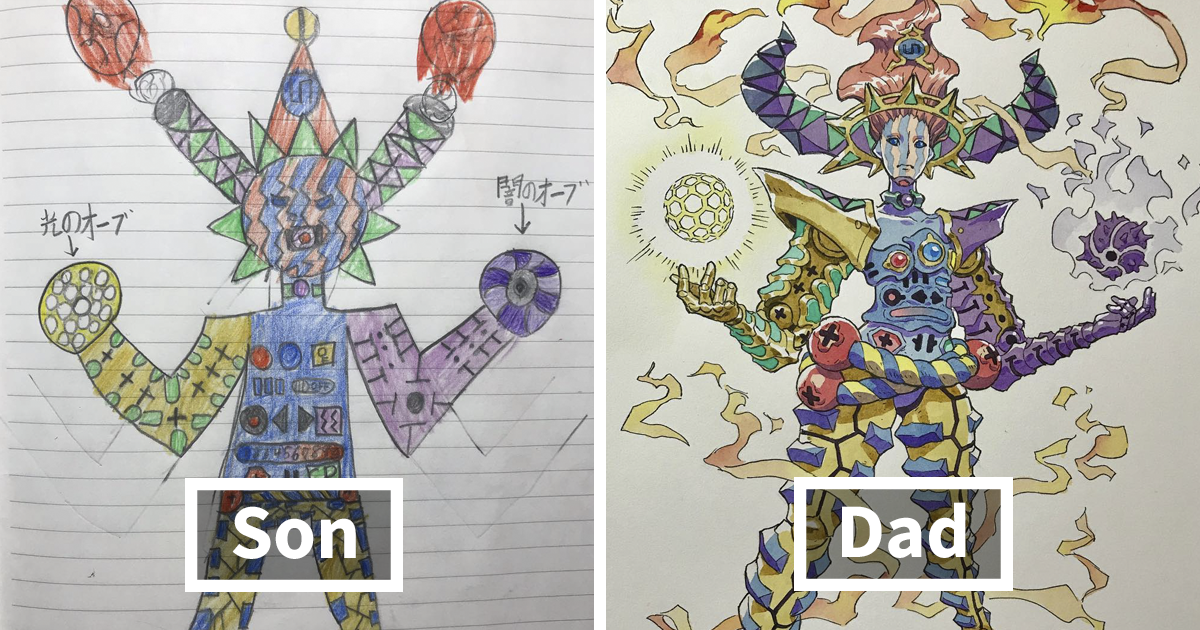 Dad Turns His Sons' Doodles Into Anime Characters, And The Result Is Amazing (Part V)