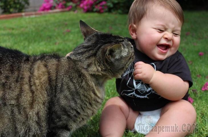 Подборка забавных и трогательных фото о дружбе детей и домашних животных.