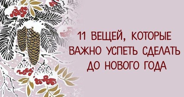 11 ВЕЩЕЙ, КОТОРЫЕ ВАЖНО УСПЕТЬ СДЕЛАТЬ ДО НОВОГО ГОДА