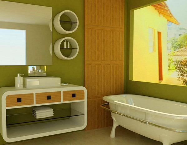 ванная в зеленых тонах фото
