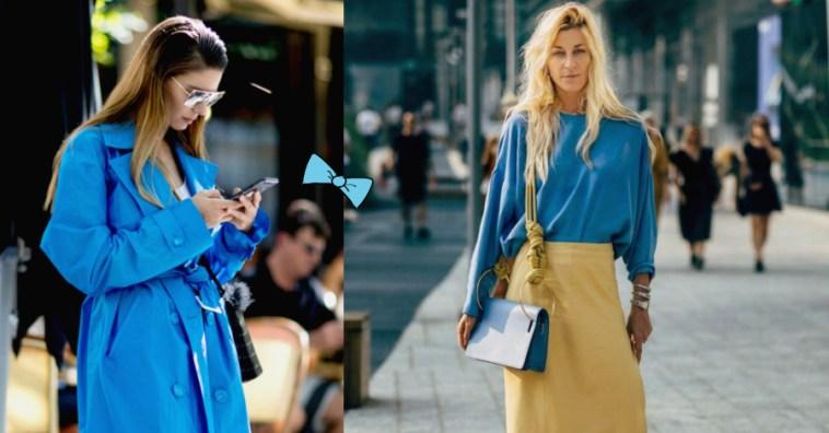 Синяя птица: 15 street style образов в главном оттенке 2020 года