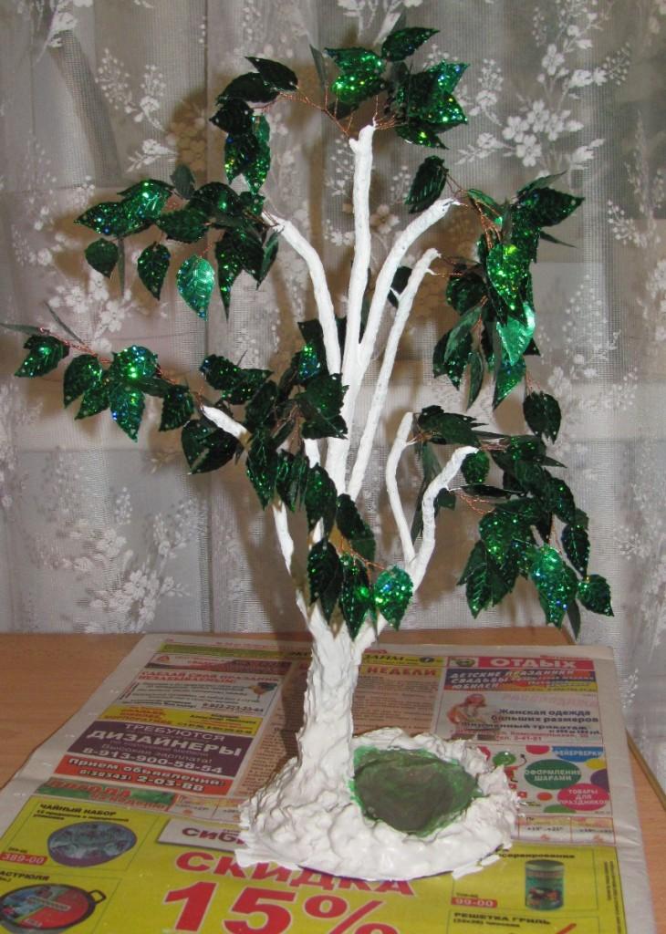Дерево из бисера и пайеток своими руками 69