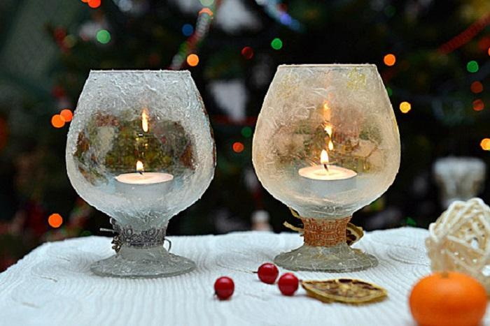 Подсвечники к новому году своими руками из бокалов