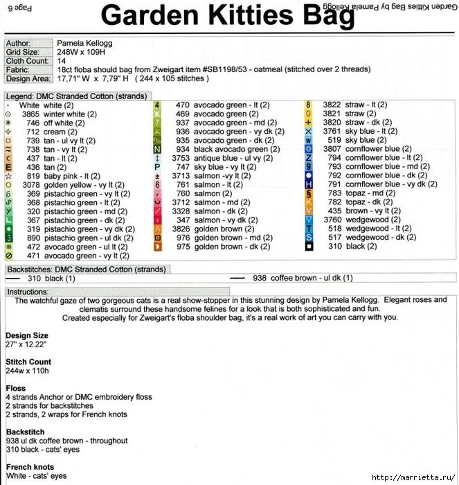 КОШКИ на сумочке и рюкзаке - вязание и вышивка (11) (663x700, 327Kb)
