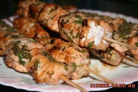Шашлык из речной рыбы, рецепты,  рыбные блюда, речная рыба, рецепт приготовления рыбы