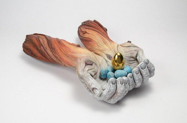 Скульптуры из керамики, имитирующие дерево