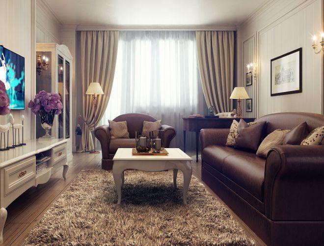 гостиная современная классика диван коричневый