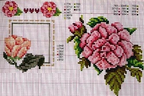 Схемы цветов для вышивки крестом — камелии и клематисы