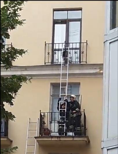 Спасение кота застрявшего в балконной двери (видео)