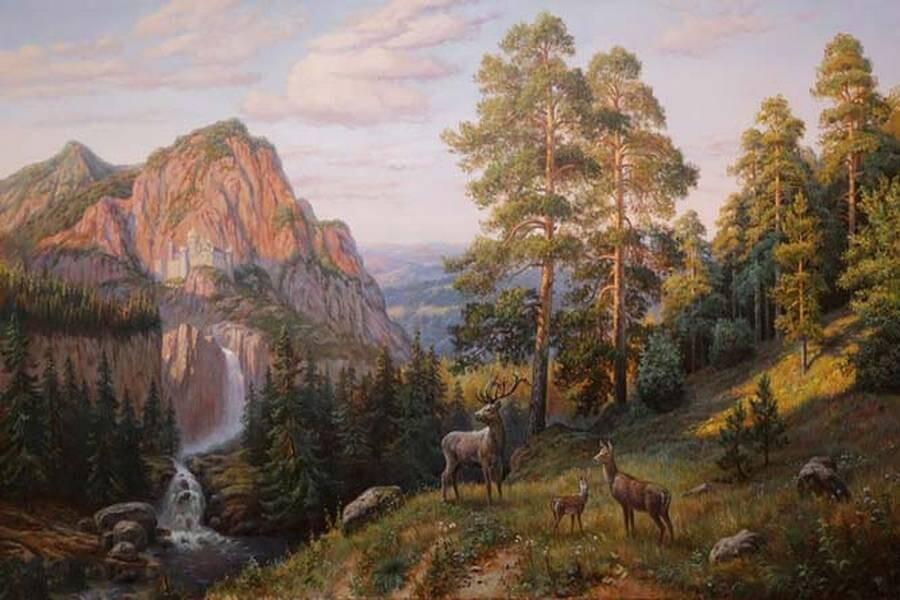 Водопады в живописи.