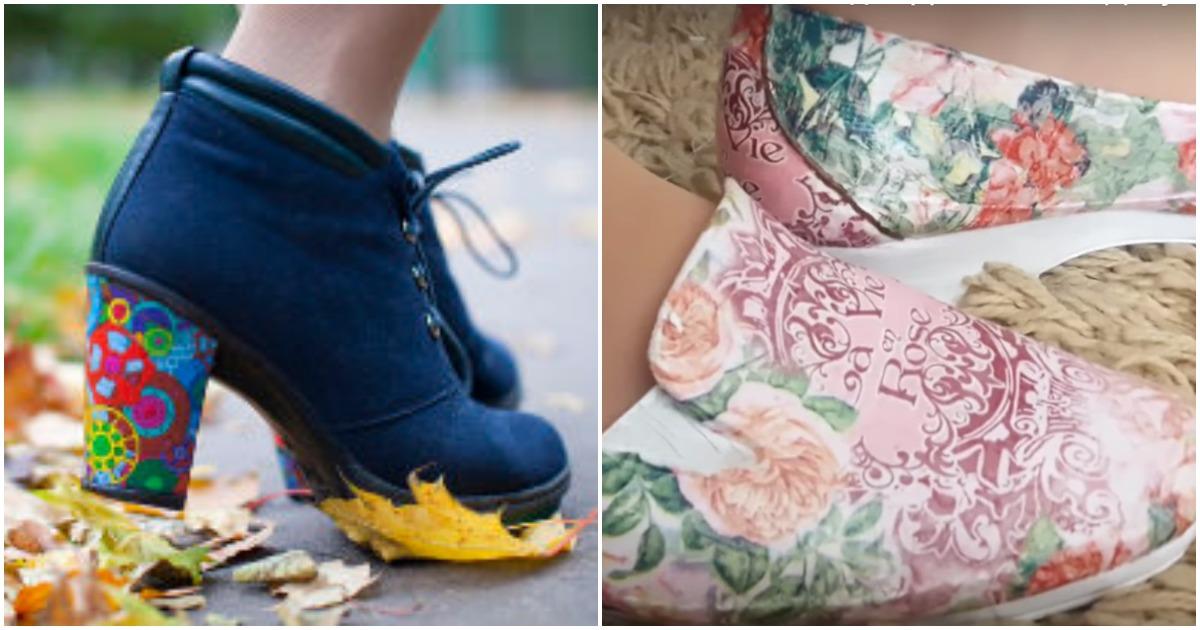 Девушка перенесла на старую обувь рисунок и получила нечто потрясающее!