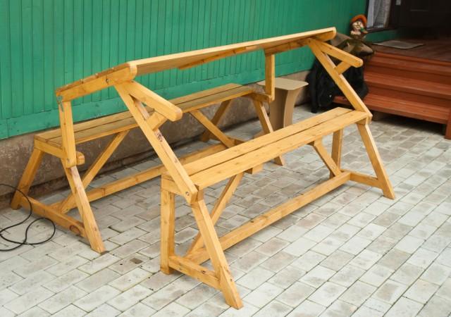 Сделать своими руками стол-скамейку из дерева своими руками 91
