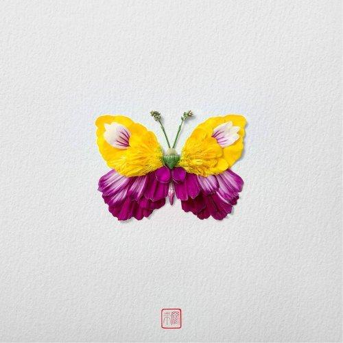 Цветочные бабочки, созданные художником