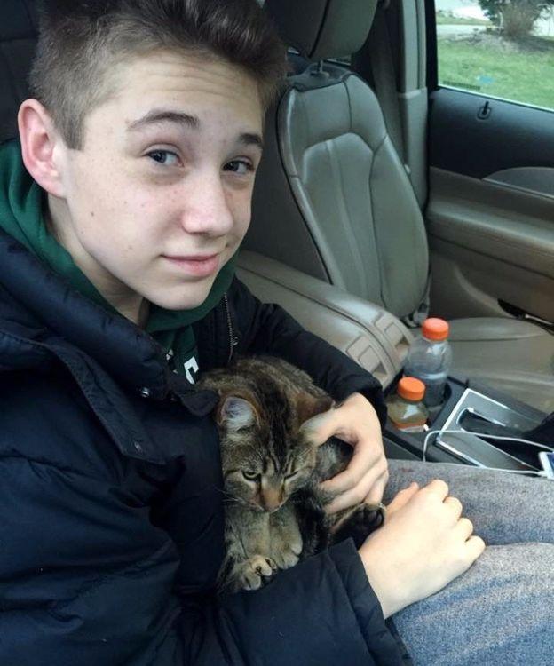 Из фургона выбросили кота, мальчик немедленно бросился на помощь