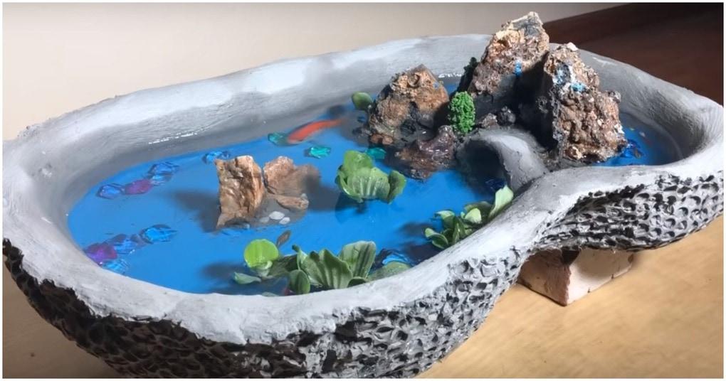 Оригинальный мини-пруд с живыми рыбками — изюминка интерьера с бросовой ценой