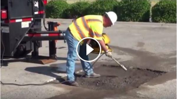 Ямочный ремонт дорог в США: видео дня