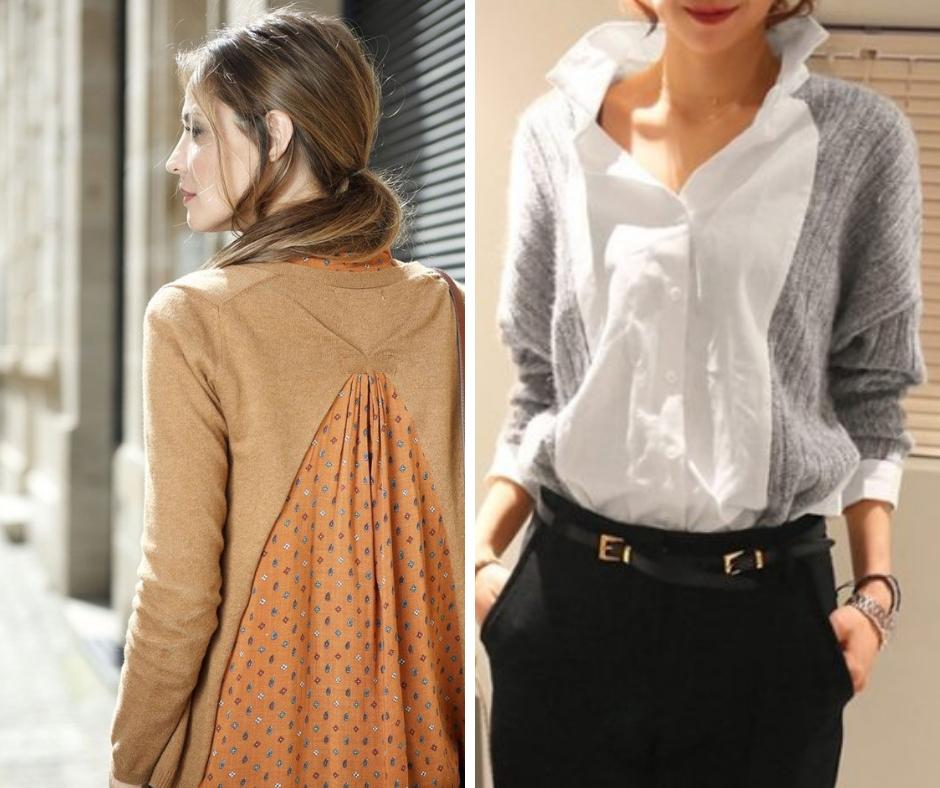 Несколько идей переделок: свитер+блуза. Позволяют попутно изменить размер — сделать его больше или меньше