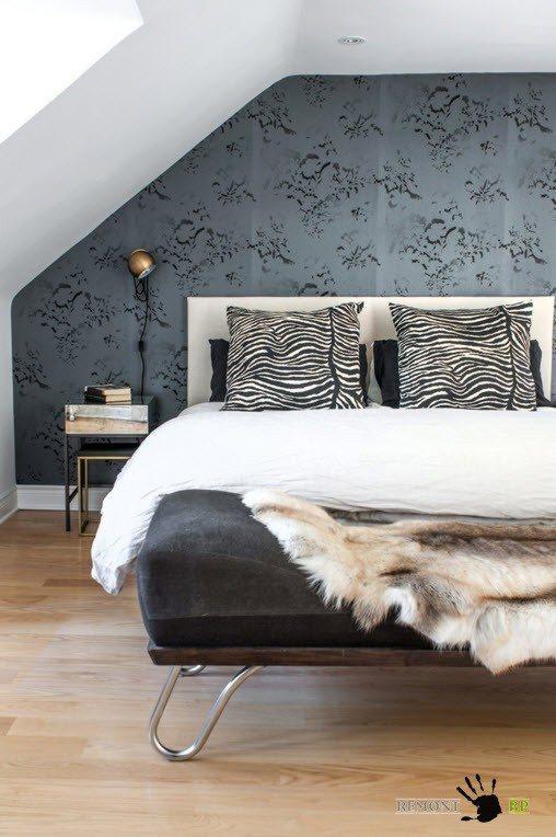 Контрастный вариант оформления спальни