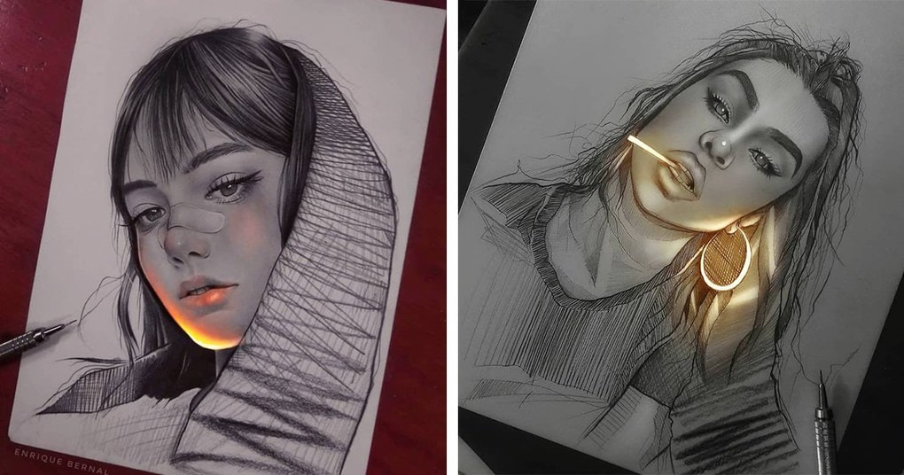 Художник создает рисунки карандашом, как будто они освещены флуоресцентными лампами