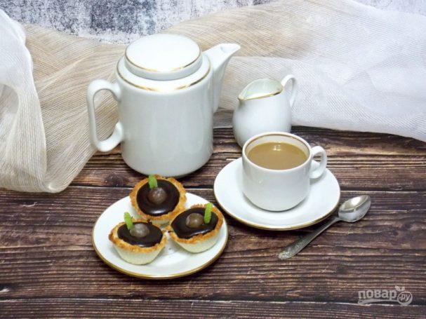 Кокосовые тарталетки с шоколадной начинкой