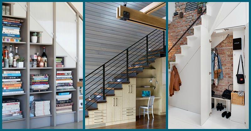 Дизайнерское оформление места под лестницей: соединяем пользу и красоту