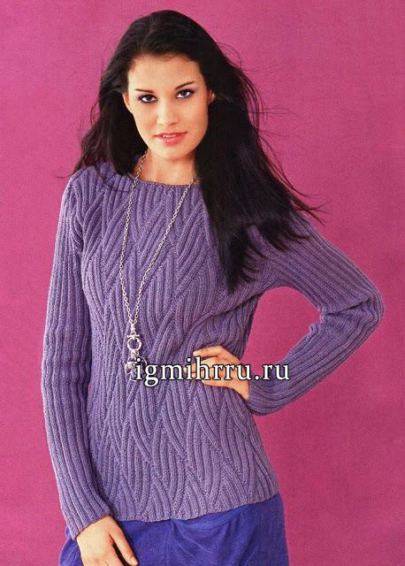 Пуловер с волнообразным орнаментом