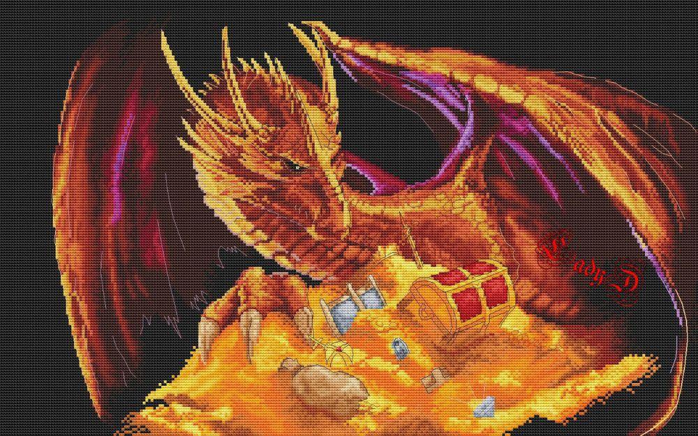 Вышиваем дракона крестиком — обзор авторских схем