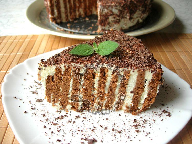 Полосатый торт без выпечки. Вкусный десерт всего за 20 минут!