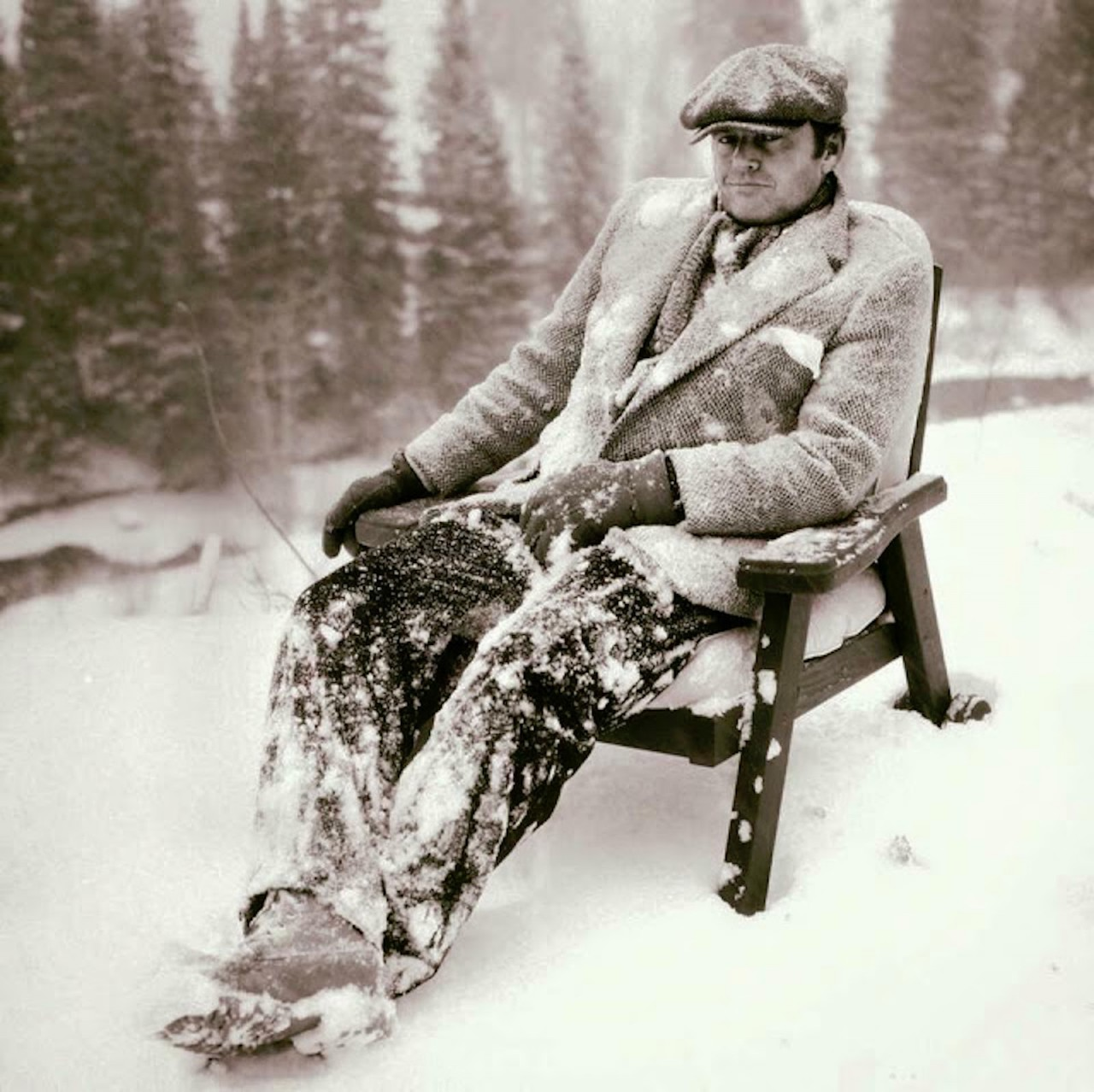 Jack Nicholson chilling out on the set of 'The Shining, 1980
