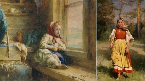 Слева - картина Ивана Горохова