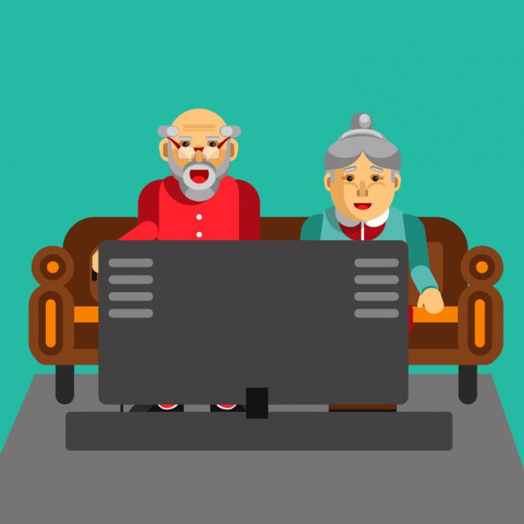 Сидит в квартире пожилая пар…