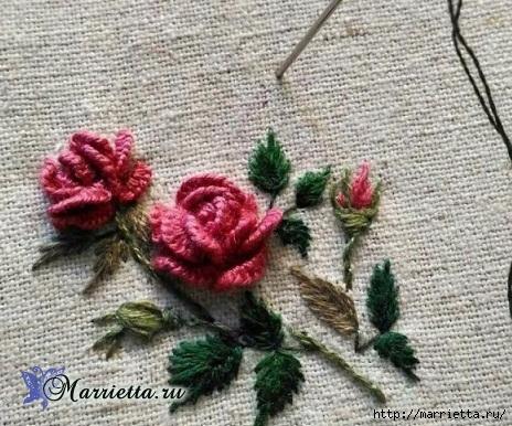 Моя прелесть — вышивка розочек в стиле «рококо»