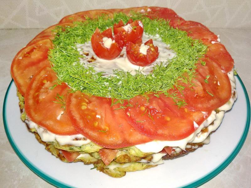 Рецепт «Торт из кабачков» - всегда готовлю такую закуску летом к праздничному столу