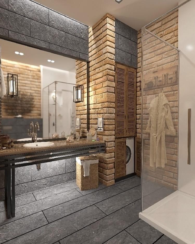 Кирпичные стены, свойственные стилю лофт прекрасно будут сочетаться с однотонным кафелем в различных цветовых исполнениях