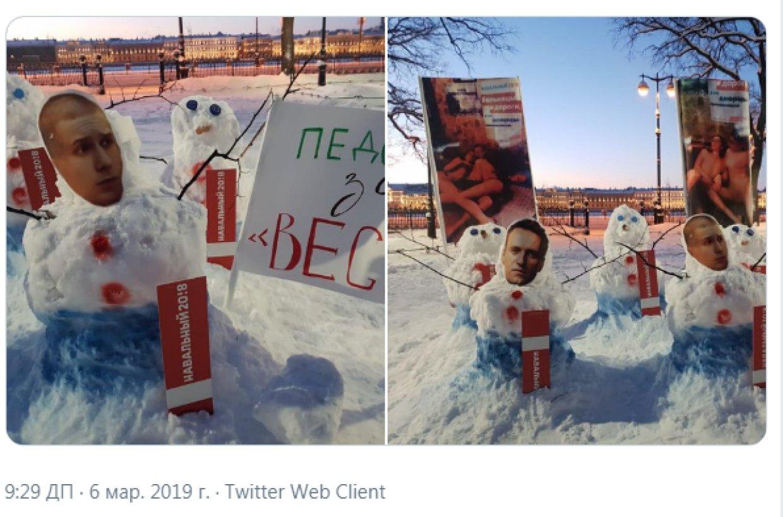 Петербург принимает меры: неизвестные слепили «протестных снеговиков» с изображением Навального и Казаченко