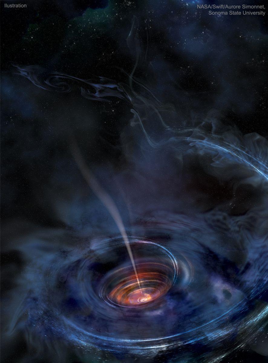 Аккрецирующая черная дыра в представлении художника / ©Robert Nemiroff/Jerry Bonnell/Swift/NASA