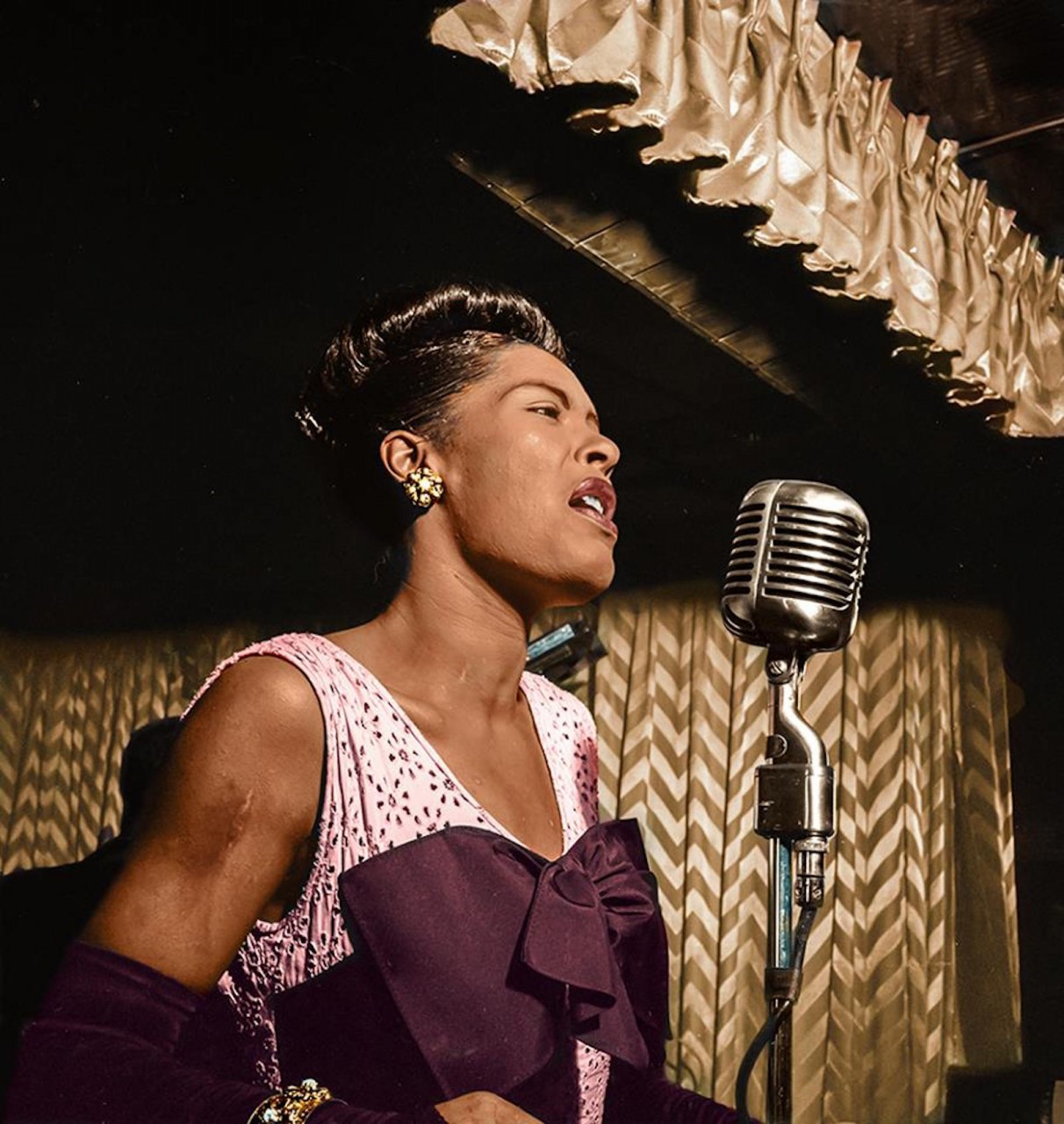 Feb 1947 Portrait of Billie Holiday, Downbeat, New York.