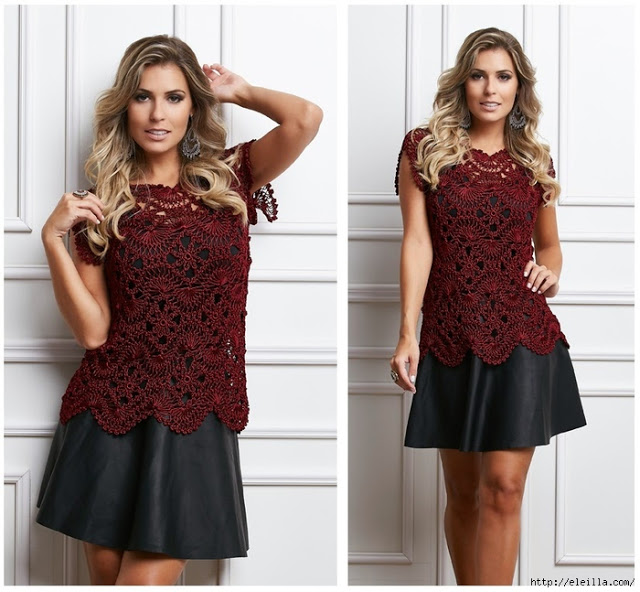 Пять красивых кофточек и блуз. Схемы вязания.