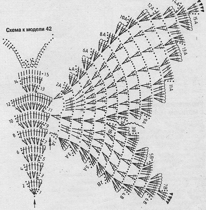 Узоры для вязания крючком бабочка 416