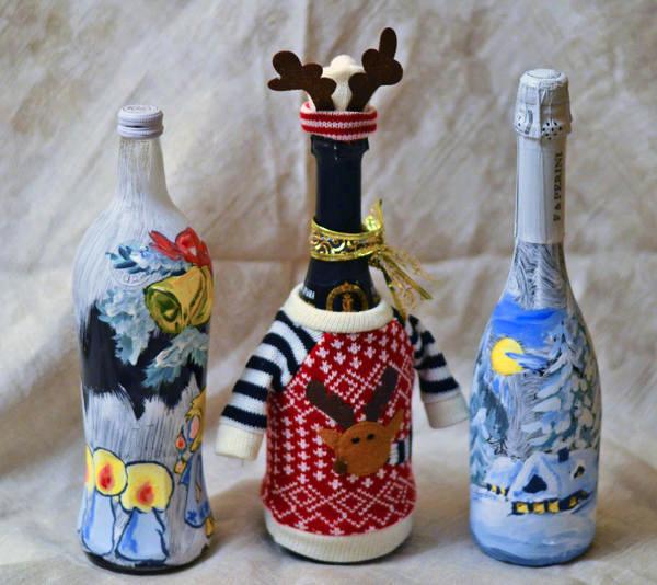 Бутылочки расписные своими руками