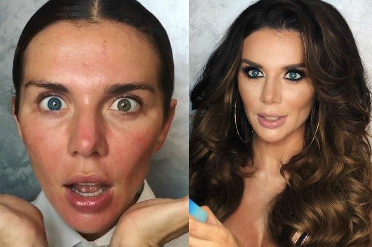 Анна Седокова показала, как с помощью макияжа превращается в роковую красотку