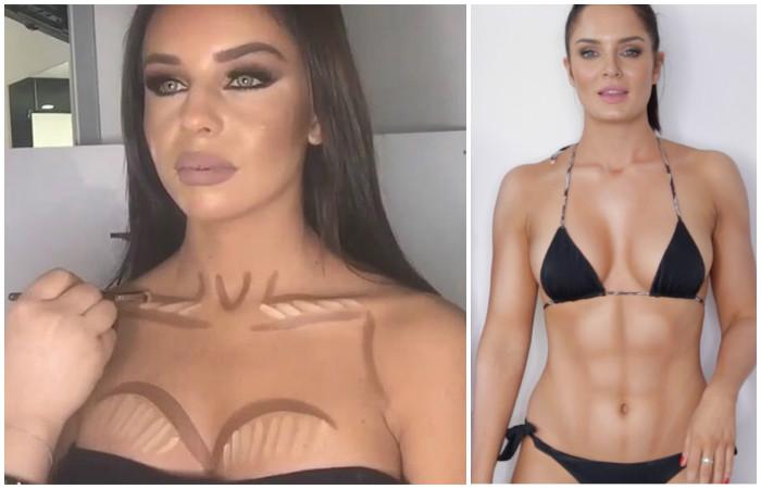Чудеса контурирования: как девушки увеличивают грудь, «качают» пресс и делают волосы гуще с помощью макияжа